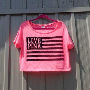 PINK Victoria's Secret Sequin Flag Crop Top